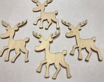 4 LARGE wood  Reindeers,  60 mm