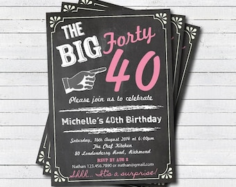 40th birthday invitation. woman surprise 40th birthday invite. Retro chalkboard pink. Printable adult birthday party invitation. AB004