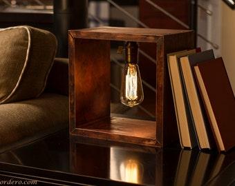 Shadow Box Edison Lamp | Table Lamp | Desk Lamp | Bedside Light | Night Light | Wood | Lamp | Edison Bulb | Industrial