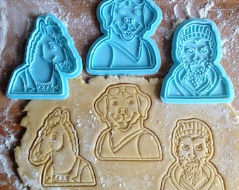 BoJack cookie cutters set of 3. BoJack Horseman, Todd Chaves and Peanut Butter cookie cutters in set.