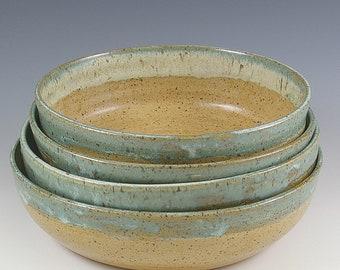 Pottery Wedding Gift, 6 Inch Handmade Pottery Bowls,  Set of Four Bowls, Salad Dessert Bowls, Prep Bowl Set, Gourmet Gift