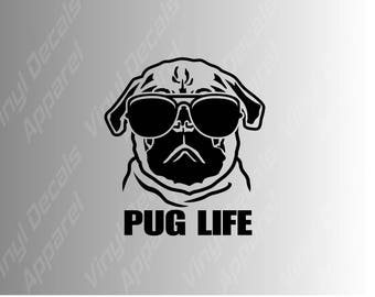 Pug Life die cut vinyl decal sticker for cars, laptops, tumblers and more / pug decal, pug life, thug life, dog decal