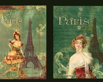 2 Images French Girl Eiffel Tower Victorian Style Digital Print Download Altered Art