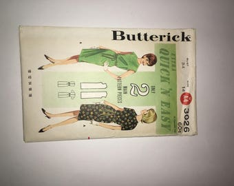 1960's Butterick 3026 Retro Shift Dresses Pattern Extra Quick and Easy Pattern