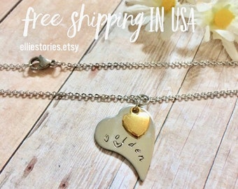 Golden Birthday Gift Hand Stamped in Colorado Personalized Necklace, Gold Heart Charm, Heart Toggle, Gift for Her, Daughter, Grand Daughter