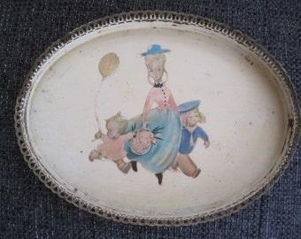 Vintage oval metal vanity tray