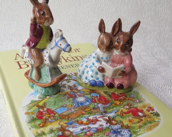 Bunnikins Royal Doulton English China Storytime Tally Ho 1974 Rocking Horse Golden Jubilee 1984 Easter Basket With Tale for Bunnikins Book