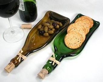 Dark Green Wine Bottle Serving Tray Spoon Rest Cork Recycled Fast Ship Melted wine bottle Hostess gift Slumped wine bottle Foodie Upcycle