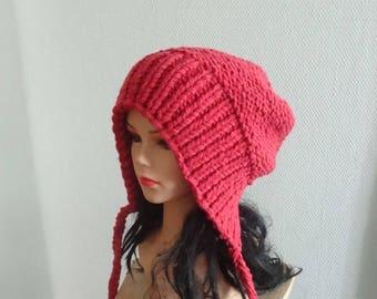 Slouchy Ear Flap Hat raspberry slouchy Knitted slouchy beanie Womens pink hat Split Brim Slouchy Beanie Women Accessories Winter girl Hat