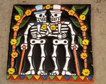 Talavera Mexican Tile Mosaic Day of the Dead / handsome guys