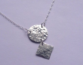 Geometric Sterling Silver Necklace, Hammered Silver