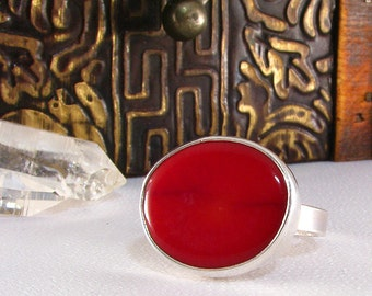Handmade Red Coral Sterling Ring  OOAK, Size 7