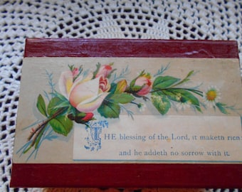 Vintage postcard Bible verse on wooden box