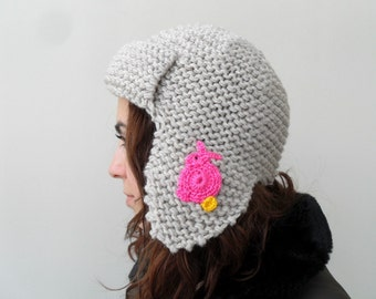 Easter Bunny Pilot Hat for Adults Pink Bunny Hat Beige Hat Knitted Beret Earflap Hat Aviator Hat Easter Gift