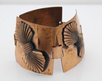 """Vintage Wide Panel Copper Link Bracelet 7"""". [1217]"""