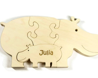 Wooden Puzzle, Animal Puzzle, Handmade Wooden Puzzle, Hippo, Baby Hippo Puzzle, Personalized Gift, Baptism, Birthday, Baby Shower Gift.