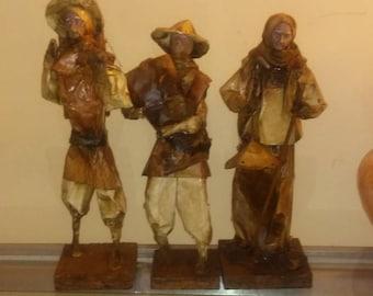 Paper Mache Vintage HandCrafted Folk Art Paper Mache Figures