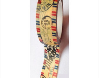 """SALE Washi Tape """"Air Mail""""  15mm x 10 Meters"""