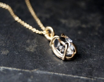 14kt Yellow Gold Herkimer Diamond Necklace, Prong set