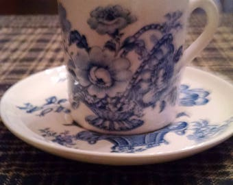 """Royal Crawford 'Charlotte"""" iron stone cappuccino cup and saucer"""