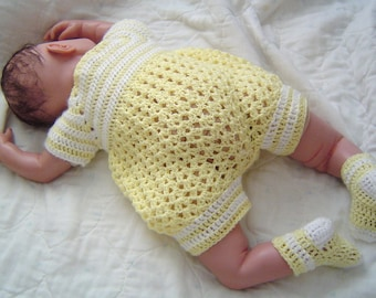 0064 Yellow Sunshine  Infant Boys Pattern,Baby Boys Crochet Romper,Infant Bubblesuit,Crochet Pattern by CarussDesignZ