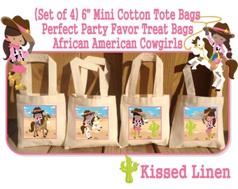 Western Cowgirls African American Birthday Party Treat Favor Gift Bags Mini Cotton Totes Children Kids Girls Western Set of 4
