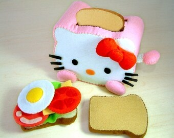 DIY felt Toaster and Sandwich--PDF Pattern via Email--T03