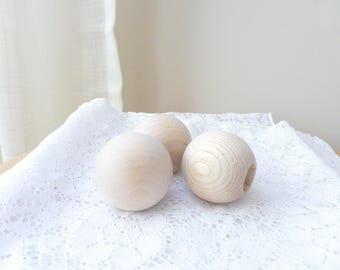 Craft ball knobs, unfinished wood balls, wooden knobs, craft supplies, set of 3, ready to ship