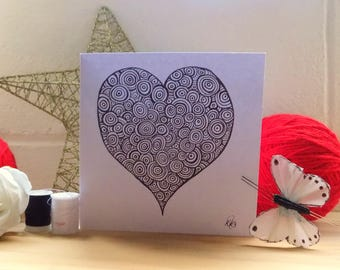 Valentines Card, Abstract Art Heart Card,  Doodle Art Card, Hand Drawn Card, Greetings Card,  Note Card, Valentines card.