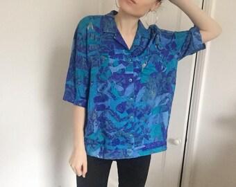 Vintage Retro Festival Vibrant Patterned Collared Shirt