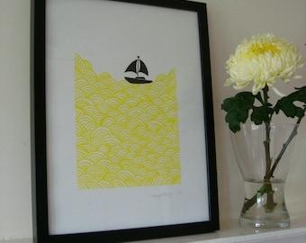 bigger boat screen print yellow waves - edition of 30