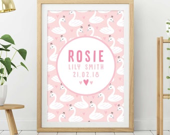 Baby Girl Gift, Personalised Baby Gift, Personalised Birth Print, Personalised Nursery Print, Nursery Decor, Kids Room Art, Name Print