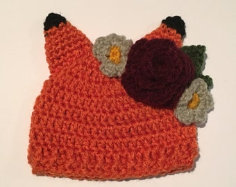 Wildflower fox hat crochet pattern