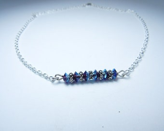 Straight bar necklace, Swarovski crystal and silver necklace, Crystal beaded necklace
