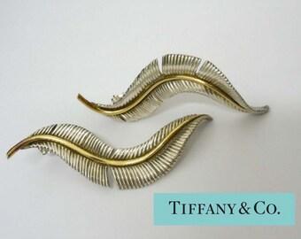 18kt Gold Sterling Silver 1989 Tiffany Feather Earrings 750 18k