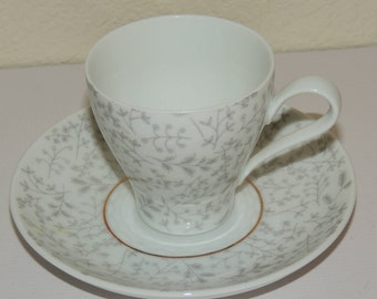 Rosenthal Germany Grey Fern Demi Cup and Saucer