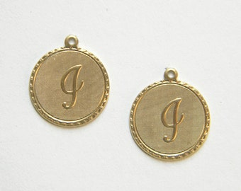 Raw Brass Letter I Charm Monogram Initial Drop 20m x 22mm - 4 pcs. (r264)