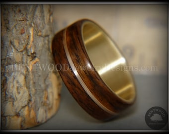 "Bentwood ""Golden Acoustic"" Rosewood Wood Ring with Bronze Guitar Acoustic String Inlay on 14k Yellow Gold Core"