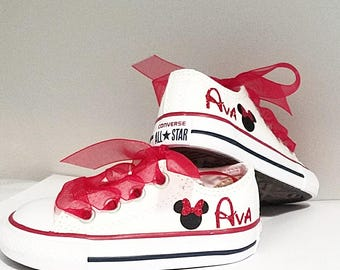 Minnie Converse, Personalized Name, Sparkle Bow, White Shoes, Red Laces, Infant Toddler Size 4, Name Ava , Ready To Ship