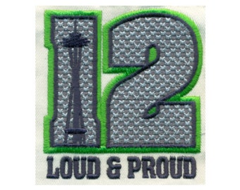Seahawks 12th Fan Loud & Proud with Space Needle Embroidery Design  - Instant Digital Download
