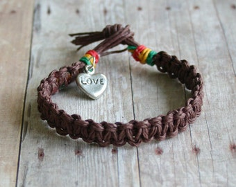 Surfer Brown Hemp Flat Necklace With Heart Charm