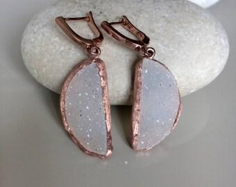 White Druzy Statement Earrings- Bridal Rose Gold Earring- Wedding Gemstone Dangle Earring- Sterling Silver Drop Earring- Engagement Gifts