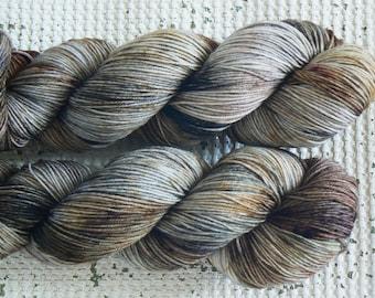 Gone to Earth - Hand Dyed Sock Yarn - Superwash Merino Nylon 4 Ply - Grey Black Brown