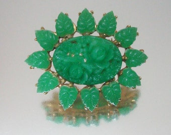 Carved Chrysoprase Carved Flower Brooch Green Leaves Vintage