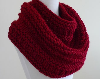 Chunky Knit Cowl, Chunky  Cowl, Infinity Scarf, Circle Scarf, Neck Warmer, Snood, Textured Cowl in Cranberry - Ready to Ship