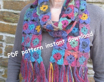 Crochet scarf pattern. PDF pattern. Photo tutorial. Instant download. Own design. Permission to sell items made from this pattern.