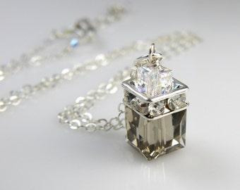 Smoky Quartz Pendant, Gray Swarovski Crystal Cube Necklace, Sterling Silver, Bridesmaid Wedding Handmade Jewelry Bridal Party Gift