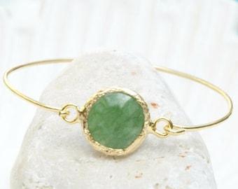Jade Bracelet Virginia - Gold and Jade Bracelet, Green Jade Jewelry, Jade Bangle Bracelet, Jade and Gold Jewelry