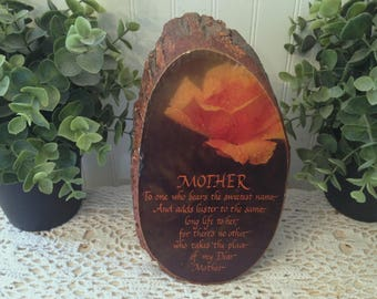 vintage MOTHER Tree Slice Bark Plaque; Mother's Day Birthday, Spring Gift Present. Rustic mid century floral motif. Yellow Rose of Texas.