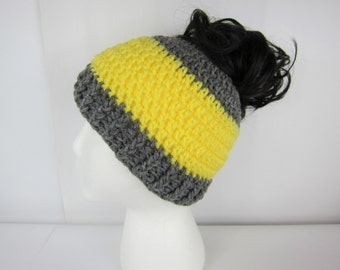Messy Bun Hat, Crochet Messy Bun Beanie, Yellow and Grey, Womens messy bun hat, Girls Juniors teen, Free Shipping